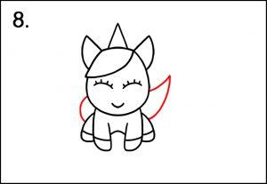 Step 8 - Unicorn tail - How To Draw A Unicorn