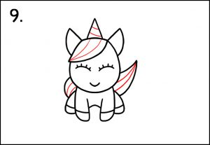 Step 9 - Unicorn Colouring - How To Draw A Unicorn